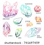 set of hand drawn semiprecious... | Shutterstock .eps vector #741697459