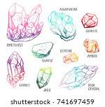 set of hand drawn semiprecious... | Shutterstock .eps vector #741697459