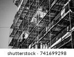 metal and wood girder extensive ...   Shutterstock . vector #741699298