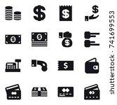 16 vector icon set   coin stack ... | Shutterstock .eps vector #741699553