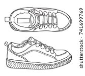 hand drawn outline sneakers ... | Shutterstock .eps vector #741699769