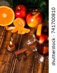 candle  orange fruit  apple ...   Shutterstock . vector #741700810