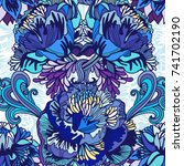 vector bright floral seamless... | Shutterstock .eps vector #741702190