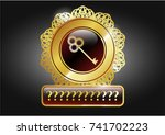 golden badge with key icon and ... | Shutterstock .eps vector #741702223