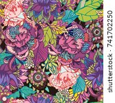 vector bright floral seamless... | Shutterstock .eps vector #741702250