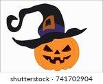 halloween pumpkin with witch... | Shutterstock .eps vector #741702904