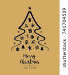 merry christmas tree icon... | Shutterstock .eps vector #741704539