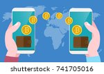 bitcoin exchange and transfer... | Shutterstock .eps vector #741705016