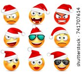 smiley emoticon set. yellow... | Shutterstock .eps vector #741707614