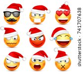 smiley emoticon set. yellow... | Shutterstock .eps vector #741707638