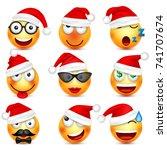 smiley emoticon set. yellow... | Shutterstock .eps vector #741707674