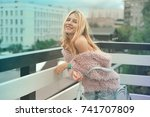 sexy blond girl with red lips...   Shutterstock . vector #741707809