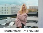beautiful blond girl in the...   Shutterstock . vector #741707830
