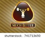 golden badge with weightlifter ... | Shutterstock .eps vector #741713650