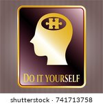 gold shiny emblem with head... | Shutterstock .eps vector #741713758