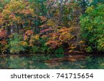 trees with leaves turning... | Shutterstock . vector #741715654