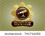 gold badge or emblem with... | Shutterstock .eps vector #741716350