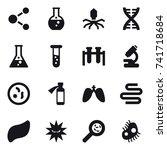 16 vector icon set   molecule ...   Shutterstock .eps vector #741718684