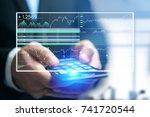 view of a stock exchange...   Shutterstock . vector #741720544