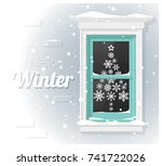 hello winter background with... | Shutterstock .eps vector #741722026