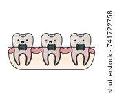teeth kawaii with braces in... | Shutterstock .eps vector #741722758