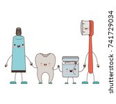 tooth and toothpaste and dental ... | Shutterstock .eps vector #741729034
