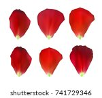Stock vector set of naturalistic rose petals vector illustration eps 741729346