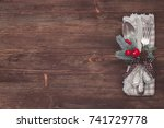 christmas kitchen towel on the... | Shutterstock . vector #741729778