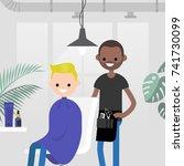 hair salon. barber shop. young...   Shutterstock .eps vector #741730099