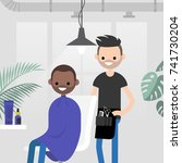 hair salon. barber shop. young... | Shutterstock .eps vector #741730204