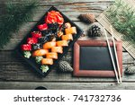 on the table are in the black... | Shutterstock . vector #741732736