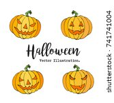 happy halloween hand drawn... | Shutterstock .eps vector #741741004