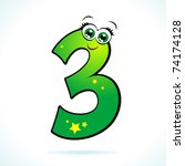 the number three represented in ... | Shutterstock .eps vector #74174128