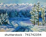 Oil Painting. Winter Forest....