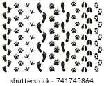 prints of traces of people and... | Shutterstock .eps vector #741745864