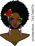 beautiful black woman with afro ... | Shutterstock . vector #741746074