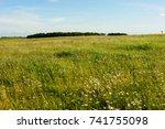 rural landscape of the field... | Shutterstock . vector #741755098