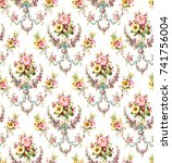 flowers pattern..for textile ... | Shutterstock . vector #741756004