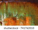 abstract rusty metal texture ... | Shutterstock . vector #741762010