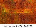 abstract rusty metal texture ... | Shutterstock . vector #741762178