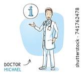 modern doctor in white coat and ... | Shutterstock .eps vector #741762478