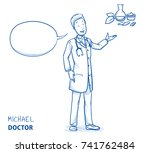 modern doctor in white coat and ... | Shutterstock .eps vector #741762484