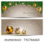 elegant christmas banner with... | Shutterstock .eps vector #741766663