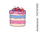 hand drawn desserts pieces ... | Shutterstock .eps vector #741767650