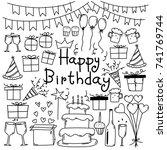 line hand drawn doodle vector... | Shutterstock .eps vector #741769744