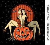 vintagestyle line artwork of... | Shutterstock .eps vector #741769858