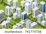 metropolis city quarter with | Shutterstock . vector #741775738
