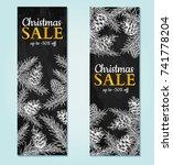 christmas sale banner. vector... | Shutterstock .eps vector #741778204