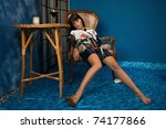 Crime scene: victim was sitting in a chair - stock photo