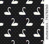 White Swan Seamless Pattern On...